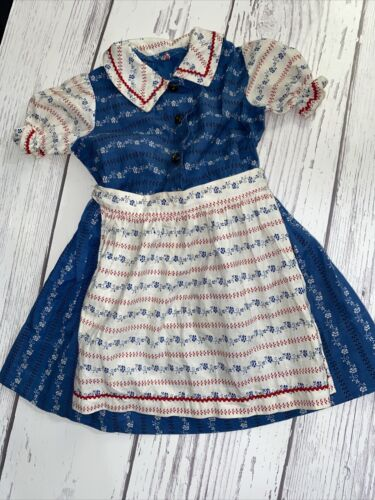Vintage Girls Red White & Blue Apron Dress Button