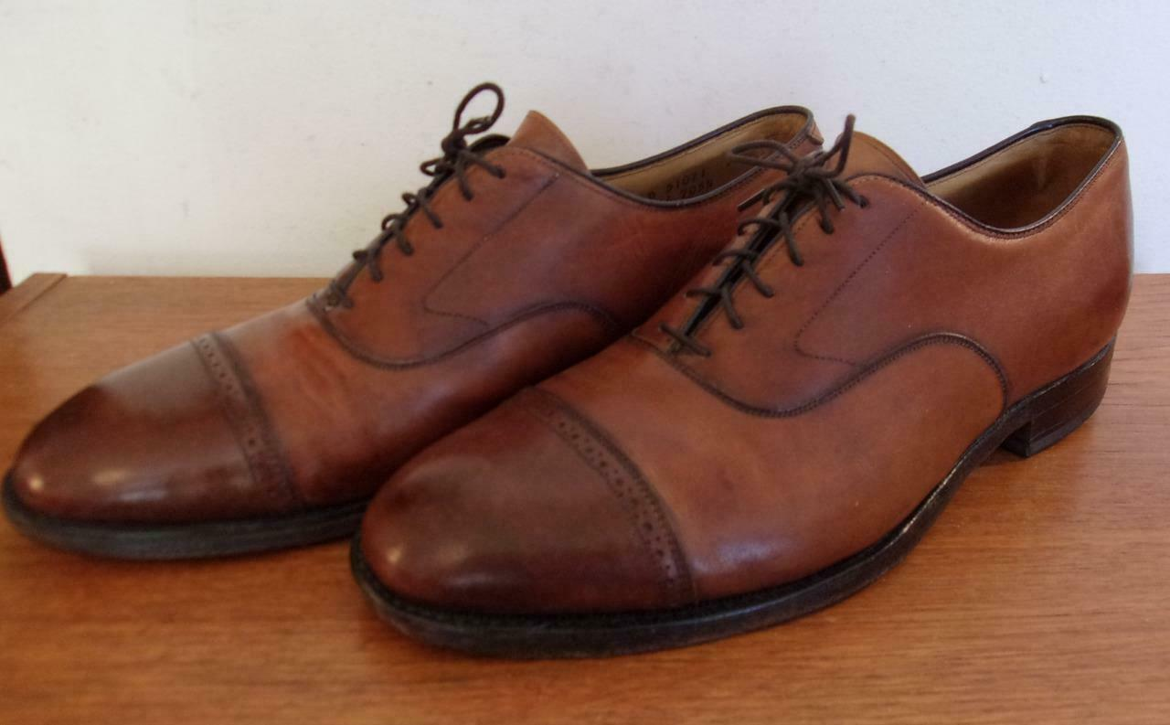 Johnston & Murphy Aristocraft Aldrich II two tone cap toe oxfords 10 D B USA