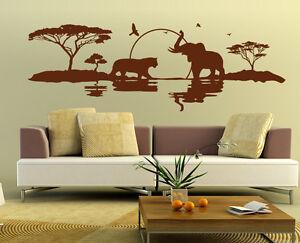 Das Bild Wird Geladen Wandtattoo Wandaufkleber Spruch Deko Wohnzimmer Afrika  Elefant Tiger