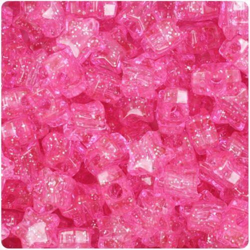 50 Pink Sparkle forma de estrella 13 mm Hermoso granos de poni de más alta calidad * 3 para 2
