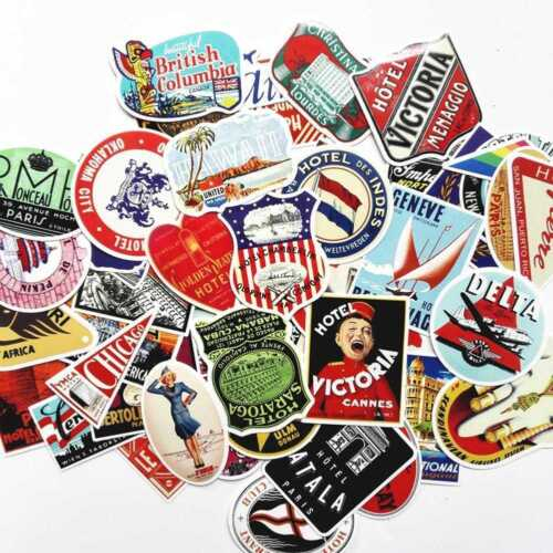 1Set Retro Vintage Old Fashioned Style Luggage Suitcase Travel Stickers UK