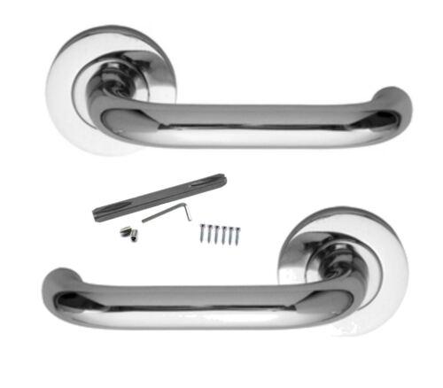 Lever On Rose Door Handles Polished Brass Chrome or Satin RARE Design Levers