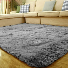 Fluffy Rug Anti-Skid Shaggy Area Rug Home Bedroom Carpet Floor Mat Gray