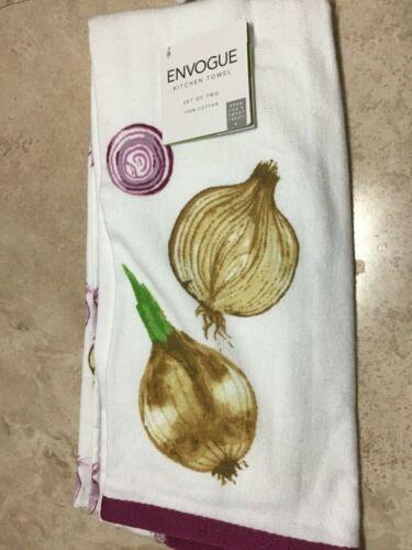 KITCHEN TOWELS ONIONS  WHITE PURPLE  18 X 28 100/% COTTON NWT ENVOGUE 2
