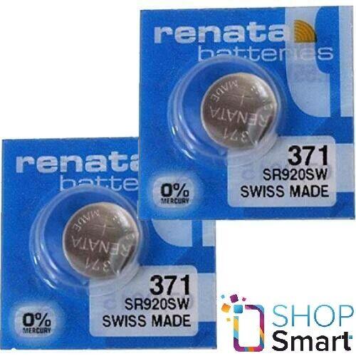 2 RENATA 371 SR920SW BATTERIES SILVER 1.55V WATCH SWISS MADE EXP 2023 NEW