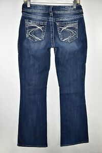 Silver-Suki-Bootcut-Boot-Cut-Stretch-Jeans-Womens-Size-29x32-Blue-Meas-27x32