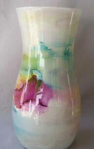 Genuine Italian Art Glass Vase Franco Italy Pastel Peach Purple Green No 993