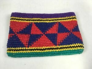 Vintage-Guatemalan-Hand-Woven-Coin-Purse-Purple-amp-Red-Pouch-Wallet-NOS