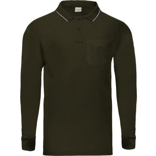NUOVA Linea Uomo Polo T Shirt Manica Lunga Cotone Piqué Casual Tasca Con Bottone Con colletto Top