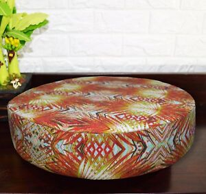 af252r Red Pink Lime PaisleyCotton Canvas 3D Round Seat Cushion Cover CustomSize
