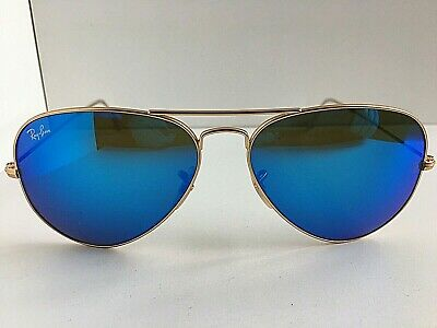 Aviator Sunglasses Large Reflective Blue Mirror Lenses w// Gold Frame Unisex