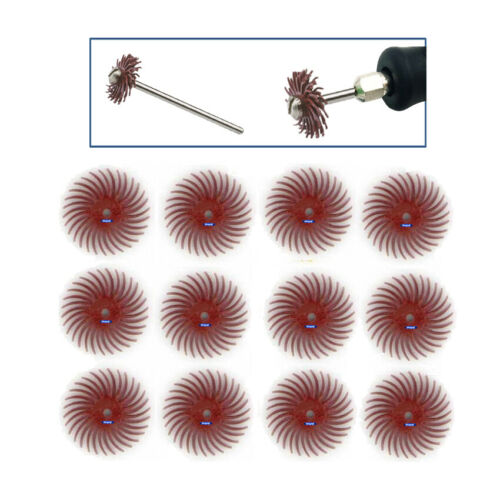 "3m Radial Bristle Discs Brushes Red 220 Grit 3//4/"" Pack Of 12 Bristle Disc Brush"