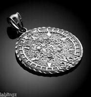 Sterling Silver Aztec Mayan Sun Calendar Pendant (s M L)