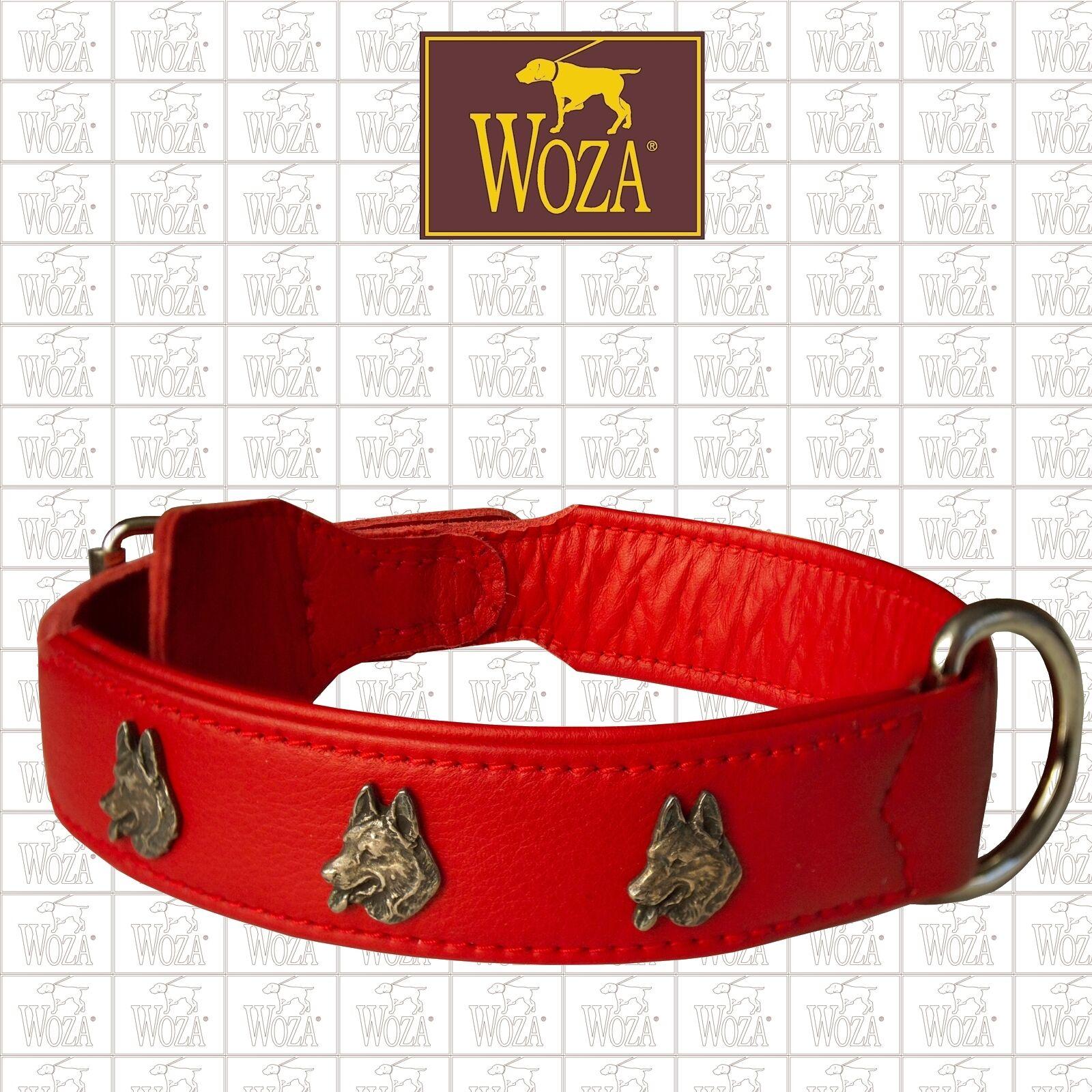 Premium Dog Collar WOZA German Shepherd Genuine Cow Napa Leather Handmade CS108Z