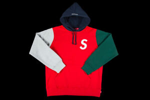 a8ed3c0bd2cb Image is loading SUPREME-S-LOGO-COLORBLOCKED-HOODED-SWEATSHIRT-RED-SIZE-