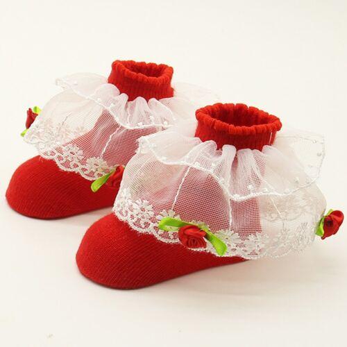 Newborn Baby Girls Floor Soft Cotton Flower Warm Socks Lace Ant-Slip Socks 0-12M