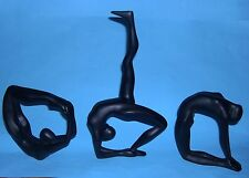 Collectable Set Good Size Figurines In Black Resin  - The Three Female Gymnasts.