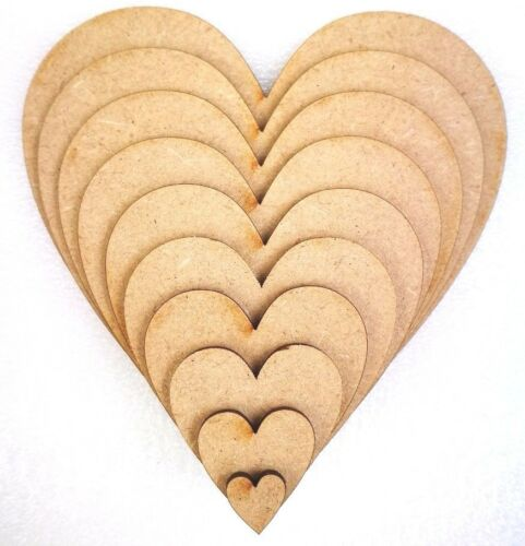 Tags Embellishments, Craft Shape Wooden MDF Hearts Shape 3mm MDF Decoration