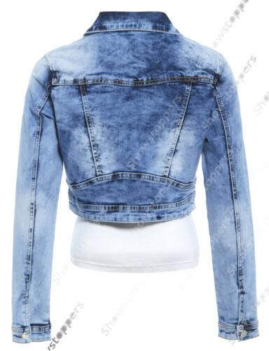 NEW DENIM JACKET Women Jeans Stretch Jackets Distressed Blue Size 8 10 12 14