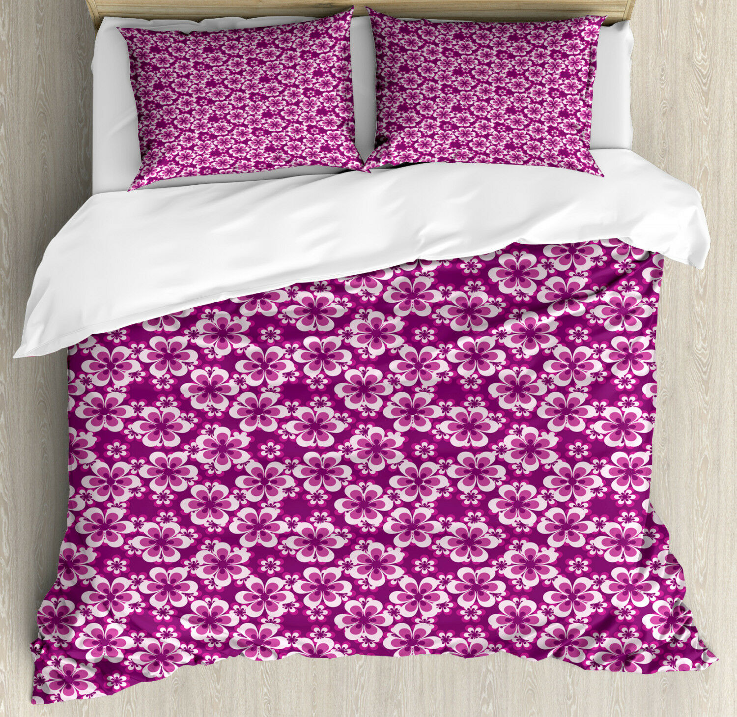 Viola Duvet Cover Set with Pillow Shams Botany Themed Petals Print