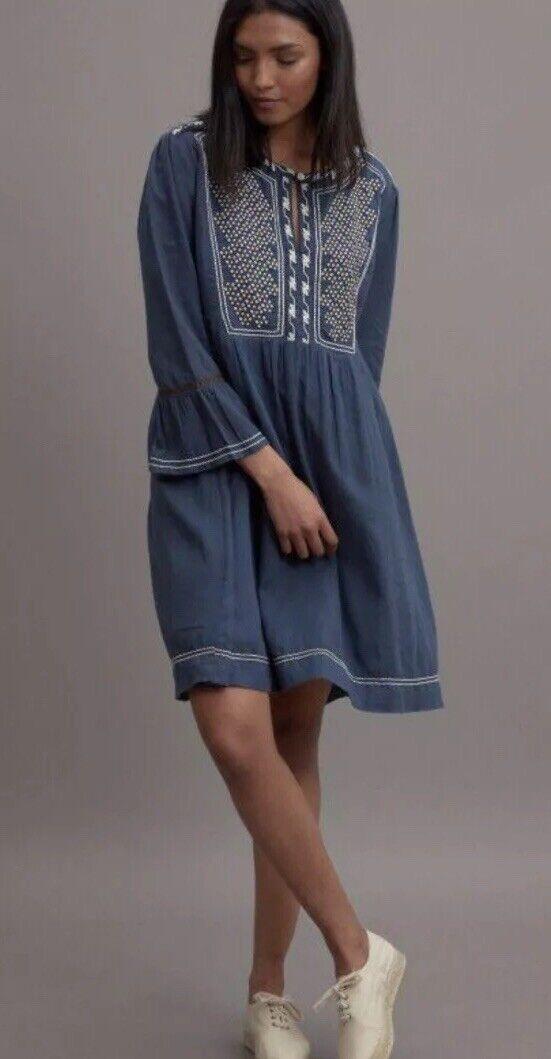 19. Nwt Roberta Rolker Rabbit Dulari Embroiderot Dress Naxy XS