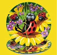 8 Ladybug Dessert Cake Dinner Plates Sunflowers Birthday Party Supplies