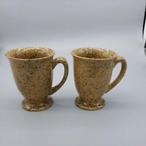X2 Vintage Baileys Irish Cream Speckled Spatter Ware Footed Coffee Mugset pair