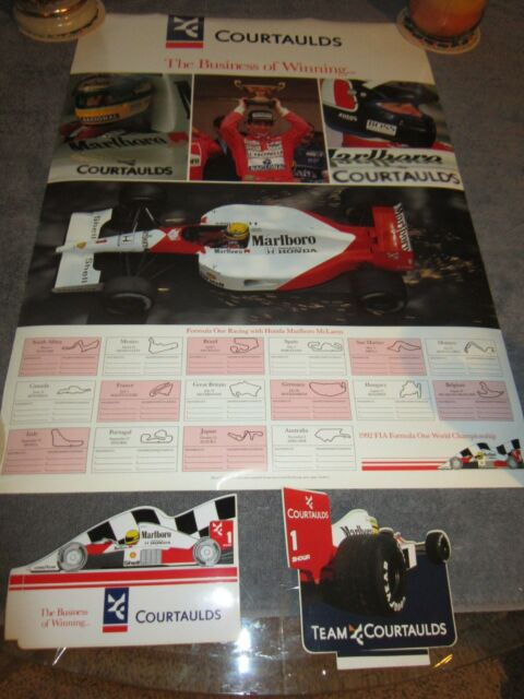 AYRTON SENNA   Mclaren/Courtaulds  Vintage F1 Motor Racing Poster & Stickers