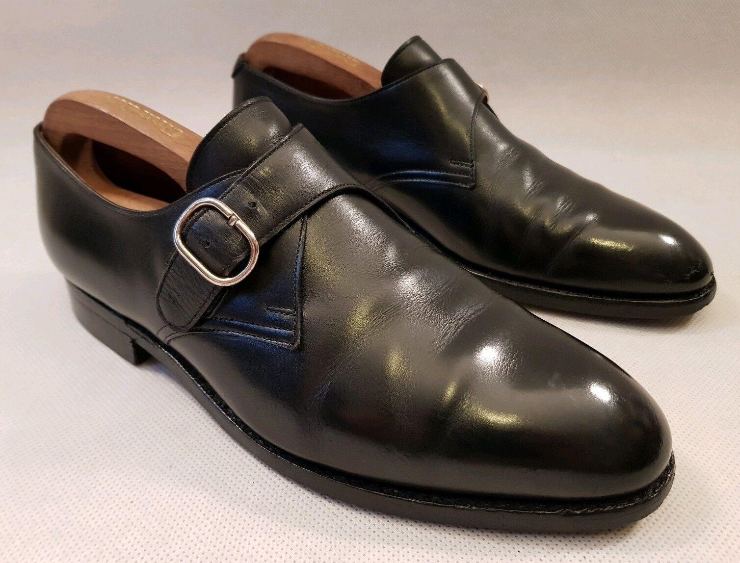 Crockett Jones Mortimer Negro Cuero monje & Hebilla Zapatos Talla 8 e RRP