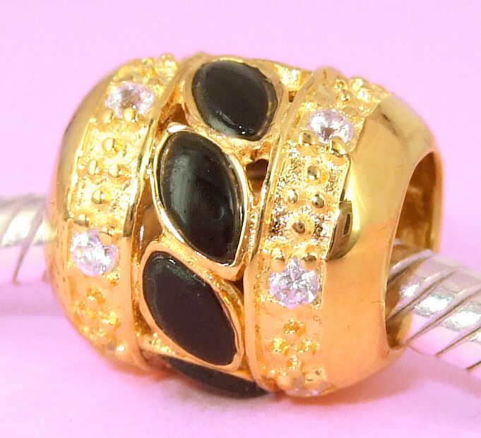 Vermeil Gold Bead With * 12 Sparkling Cz & Black Onyx Stones For Charm Bracelet
