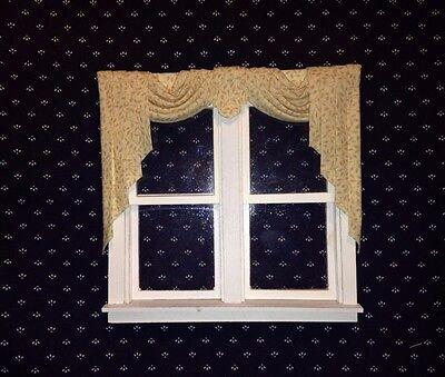 Dark Gold Swag /& Cascades Valance Dollhouse Curtains