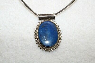 marked 925 with blue Lapis Lazuli gemstone Amazing sterling silver PENDANT
