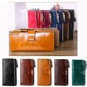 Women-RFID-Blocking-Genuine-Leather-Long-Wallet-Money-Card-Holder-Clutch-Purse