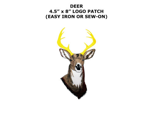 Iron On Embroidered Applique Patch Whitetail Deer Buck Head 8 Point