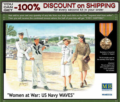 Masterbox 1//35 Scale Women at War US Navy Waves Plastic Model Building Set # 3556