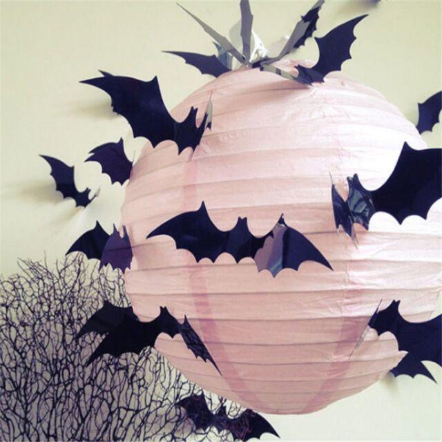 12pcs Black 3d DIY PVC Bat Wall Sticker Decal Halloween Decoration ...