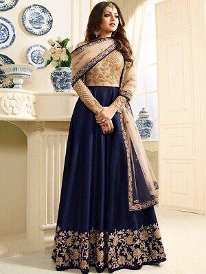 Blue Anarkali Salwar Kameez Indian Wedding Party Wear Embroidery Long Dress Suit Ebay,Princess Wedding Dresses With Long Trains And Veils