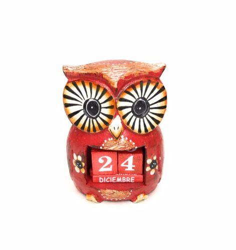 Wooden Owl Calendar Red Calendario De Madera Hecho Mano Buho Rojo Zenda Imports