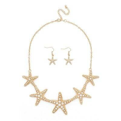 NEW Starfish Simulated Pearl Mermaid Beach Sea Ocean Collar Statement Necklace