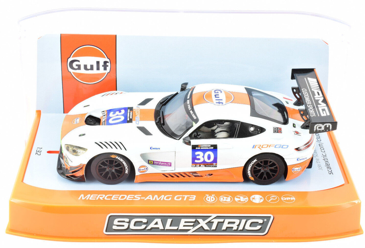 Scalextric  Gulf  Mercedes AMG GT3 DPR W  Lights 1 32 Scale Slot Car C3853