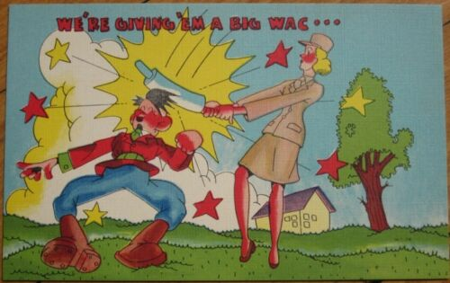 1940s WWII Linen Postcard Lady Soldier Beating Hitler