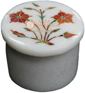 2.5 Inches Marble Trinket Box with Carnelian Stone Inlay Work Ring Box Pietra Dura Art It can be use as Wedding Gift