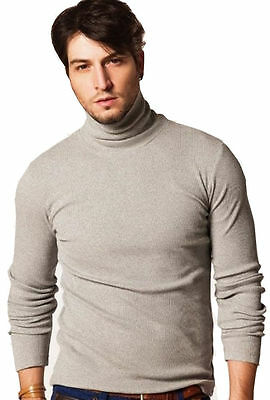 MEN'S ROLL / POLO NECK GOOD QUALITY LONG-SLEEVE COTTON SWEATER / TOPS (1251)