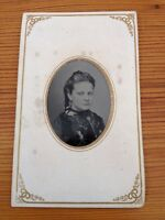 Antique 1800s Tintype Photograph Young Woman Long Hair Portrait Stunning Photo