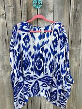 Chico's Addison Mixed Print Sarong Swim Cover Up Wrap 100% Silk Size L XL