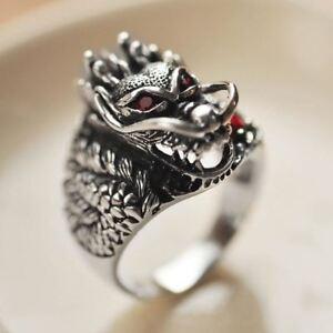925-Sterling-Silver-Retro-China-Dragon-Head-Garnet-Ring-Men-Thai-Silver-Fine-Jew