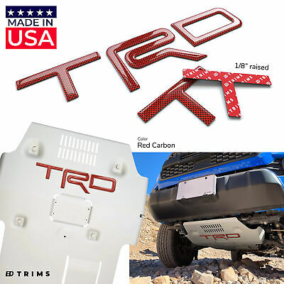 Red Outline Domed Raised Letters fits Toyota Tacoma 2016-2020 Tailgate Carbon w
