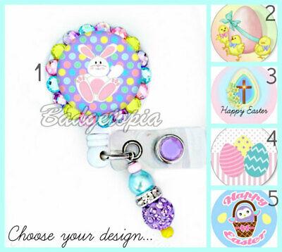 Happy Easter ID Badge Reel ~ Choose Design ~ Bunny Chicks Cross Eggs Basket