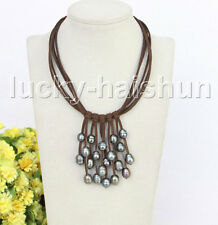 """16"""" 5row 13mm Baroque black freshwater pearls coffee leather necklace j11227"""