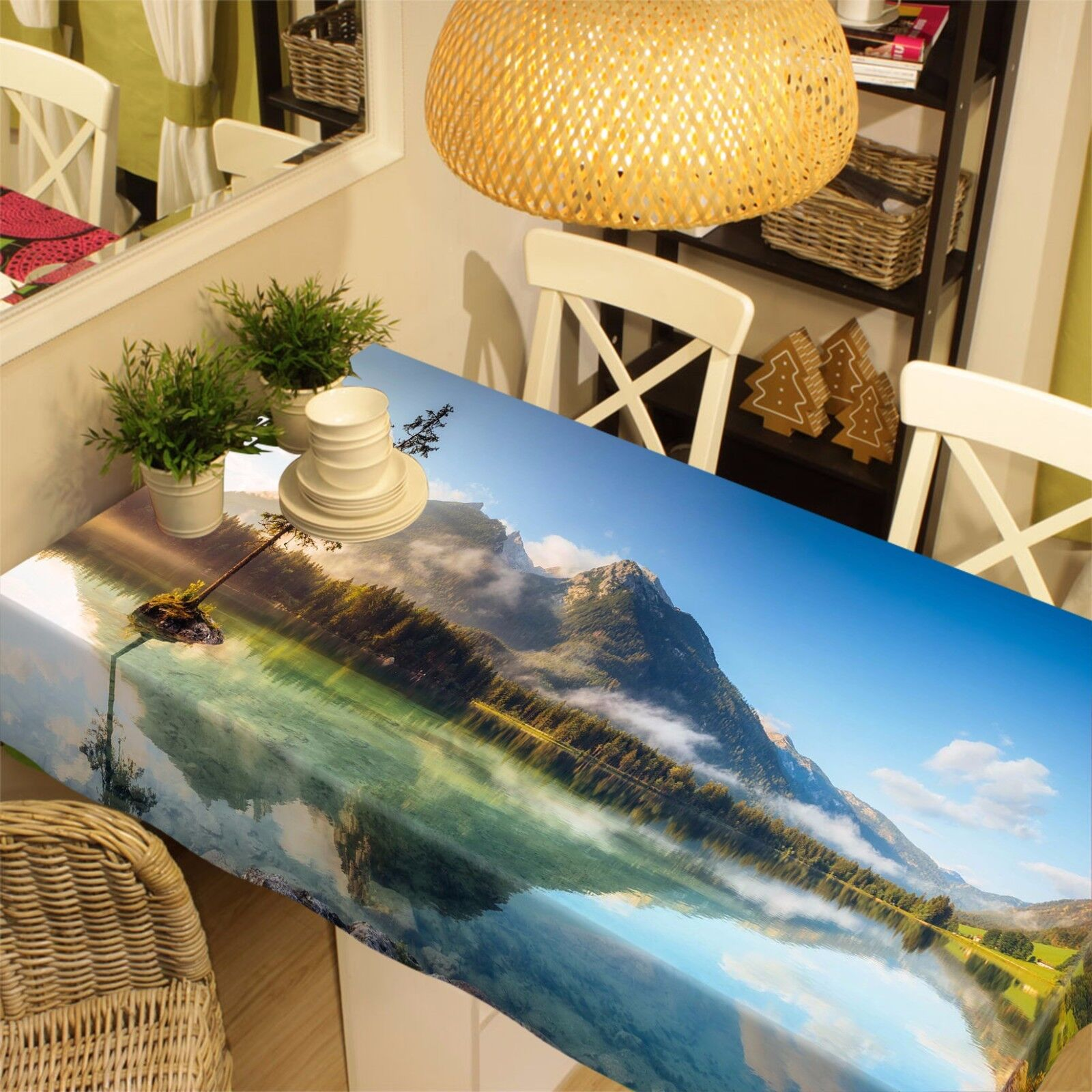 3D Misty Lake 446 Tablecloth Table Cover Cloth Birthday Party Event AJ WALLPAPER